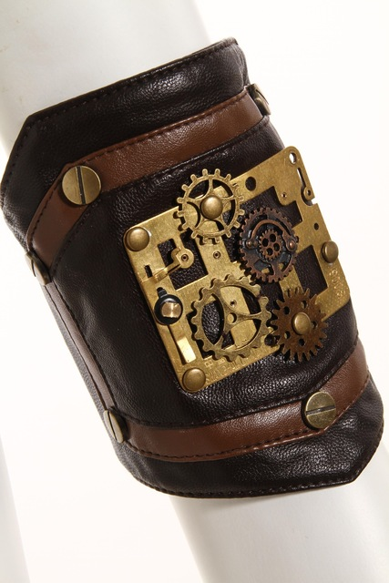 Rq Series Steampunk Gothic Ladies Bracelet Coffee Faux Leather Arm Set Women's Hand Sleeve With Pinion And Button