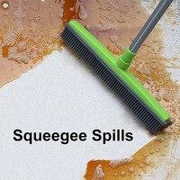 Escoba de goma Dispositivo de eliminación de pelusas para mascotas cerdas telescópicas limpiadoras mágicas escoba de rascar cerdas de empuje largo|Brochas de limpieza| |  -