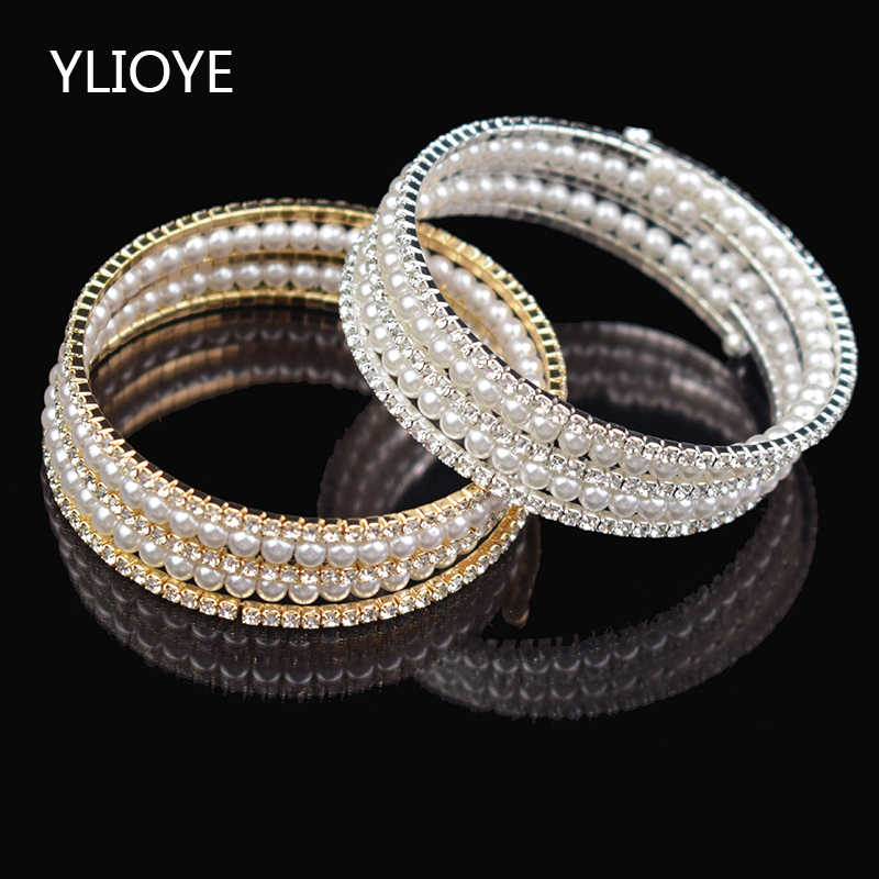 Crystal Imitation Pearl Multilayer Wide Bracelet Wedding Crystal Bracelet Women's Gold/ Silver Stretching Bracelet Gift Jewelry