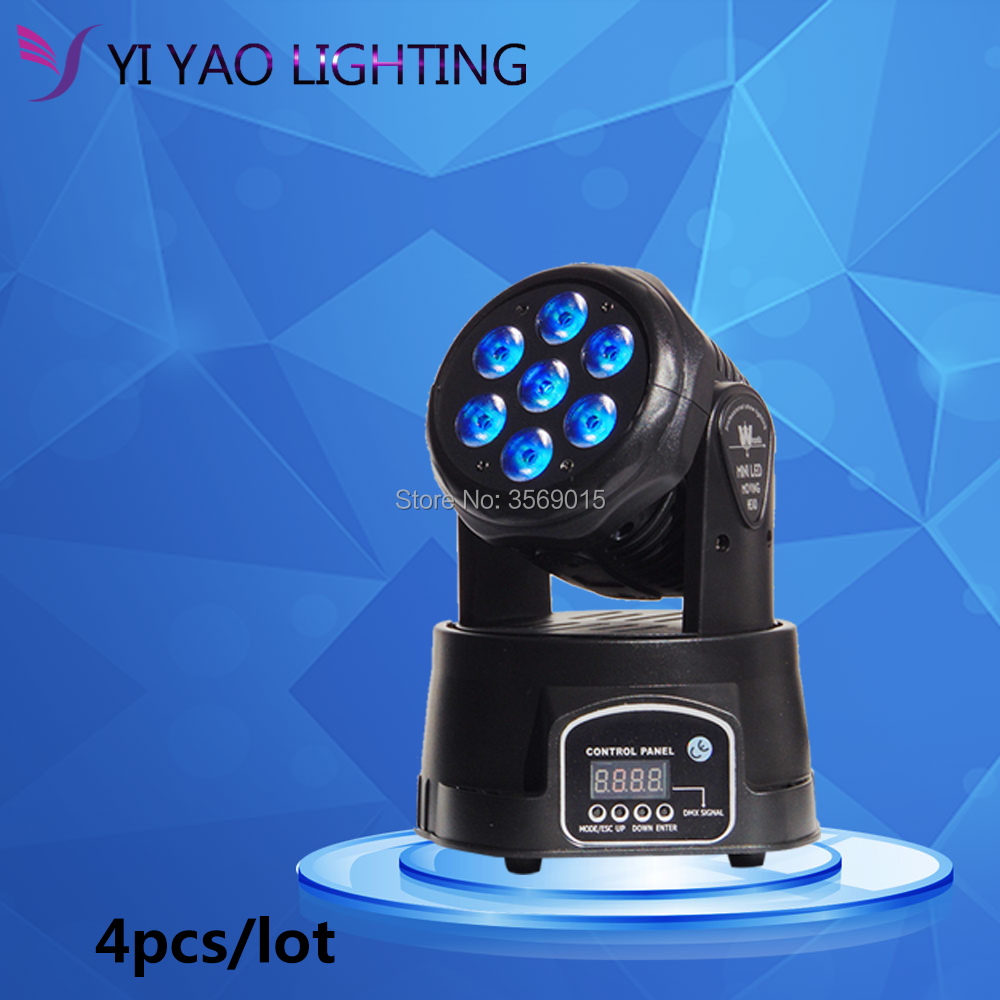 4pcs/lot 7x12W LED Beam Moving Head Light RGBW 4in1 RGBW DJ Show Stage Lighting стоимость