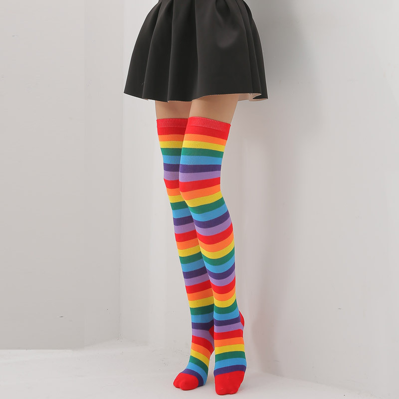 Howfits Women Girl Rainbow Cotton Socks Woman Sexy Stripe Over Knee High Lady Long Sock Colorful