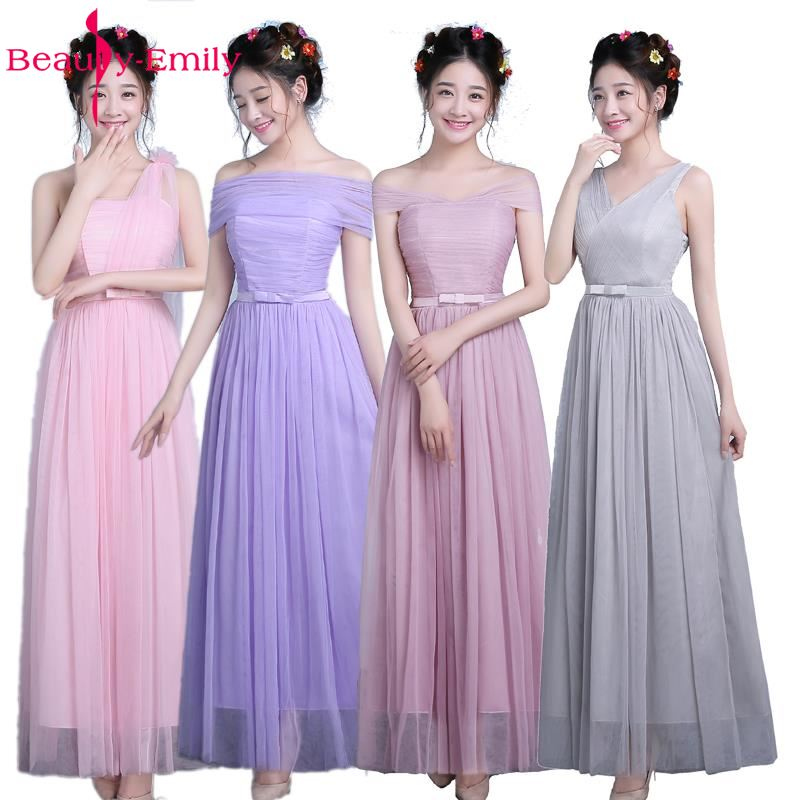 Beauty-Emily Cheap Long Pink/Champage/Grey/Purple   Bridesmaid     Dresses   2017 A-Line Floor-Length Off the Shoulder Party Prom   Dress