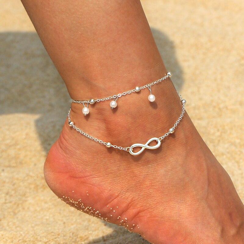 PräZise Einfache Böhmen Frauen Fuß Fußkettchen Multi-schicht Kette Simuliert Perle Quaste Fußkettchen Für Party