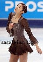 Custom Ice Skating Dresses Girls Competition Figure Skating Dress Long Sleeves Women Ice Dress Free Shipping