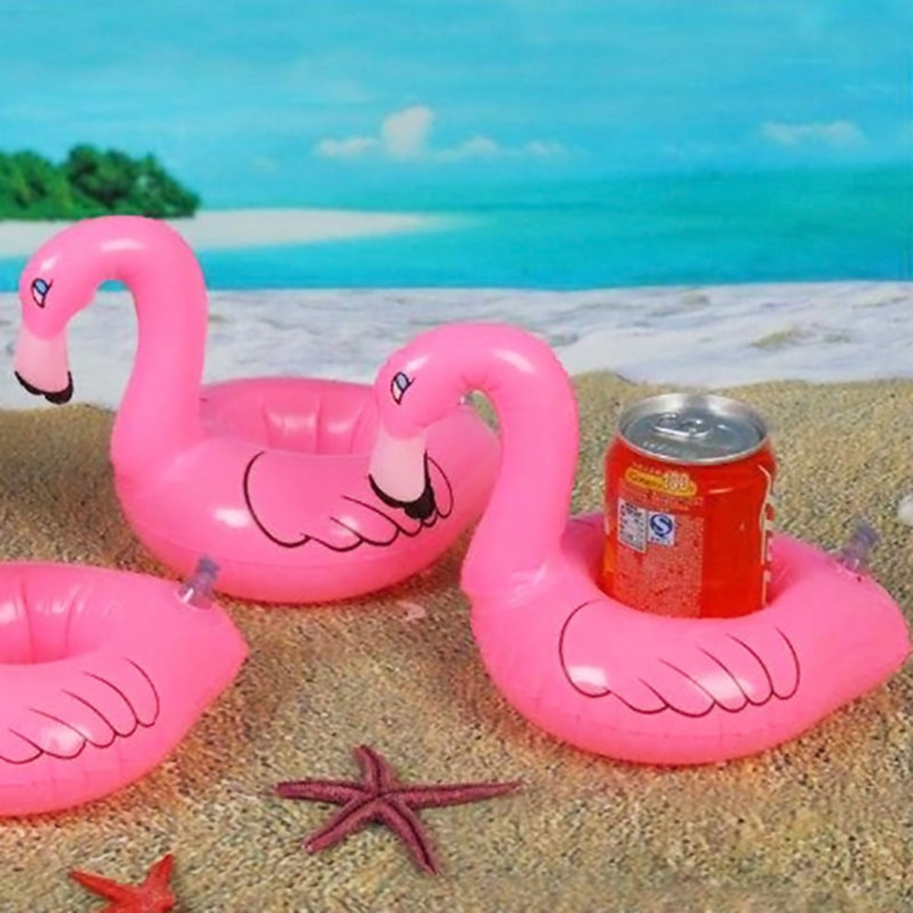 Inflatable Flamingo Drink Can Cell Phone Holder Stand Coasters Float Pool Toy for Kids Fun Swimming Floatation Device