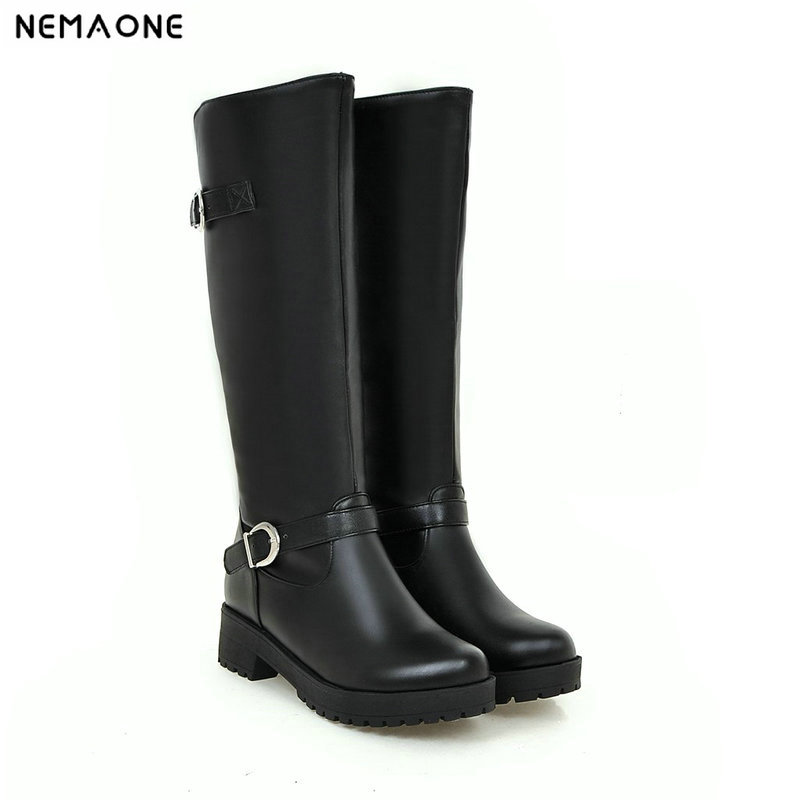 NEMAONE New 4cm med heels mid calf western Boots woman autumn Winter buckle Ladies casual shoes Woman boots large size 43