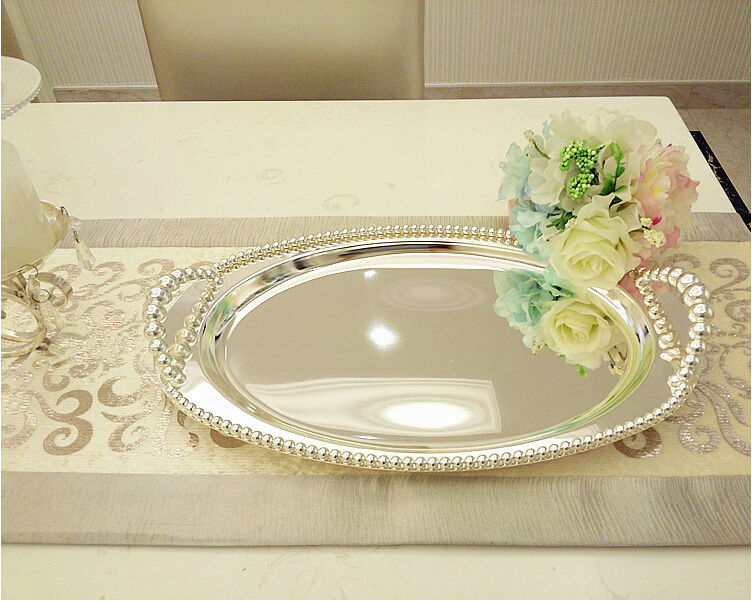 43 27cmOval silver plated metal serving tray with beads silver tray candy dishes storage tray for