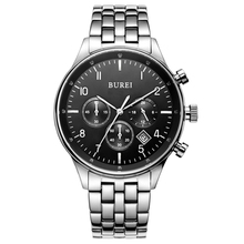 BUREI 7006 Switzerland watches men luxury brand Men's Date Multifunction Chronograph Stainless Steel Black Dial Watch