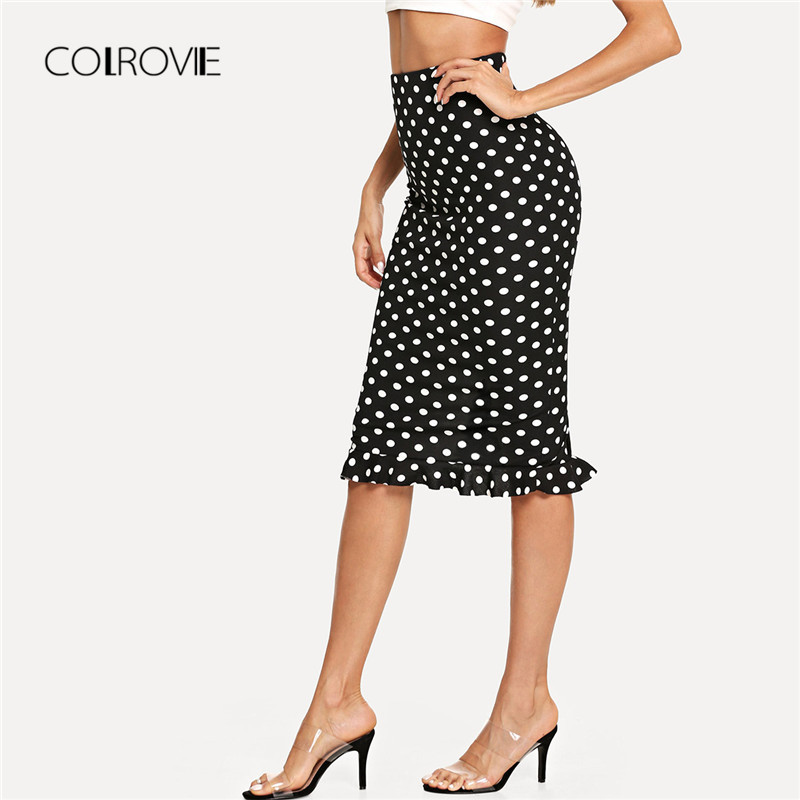 COLROVIE Black Slit Back Ruffle Hem Polka Dot Sexy Skirt 2018 Autumn Keen Length Stretchy Skirt High Waist Elegant Women Skirts