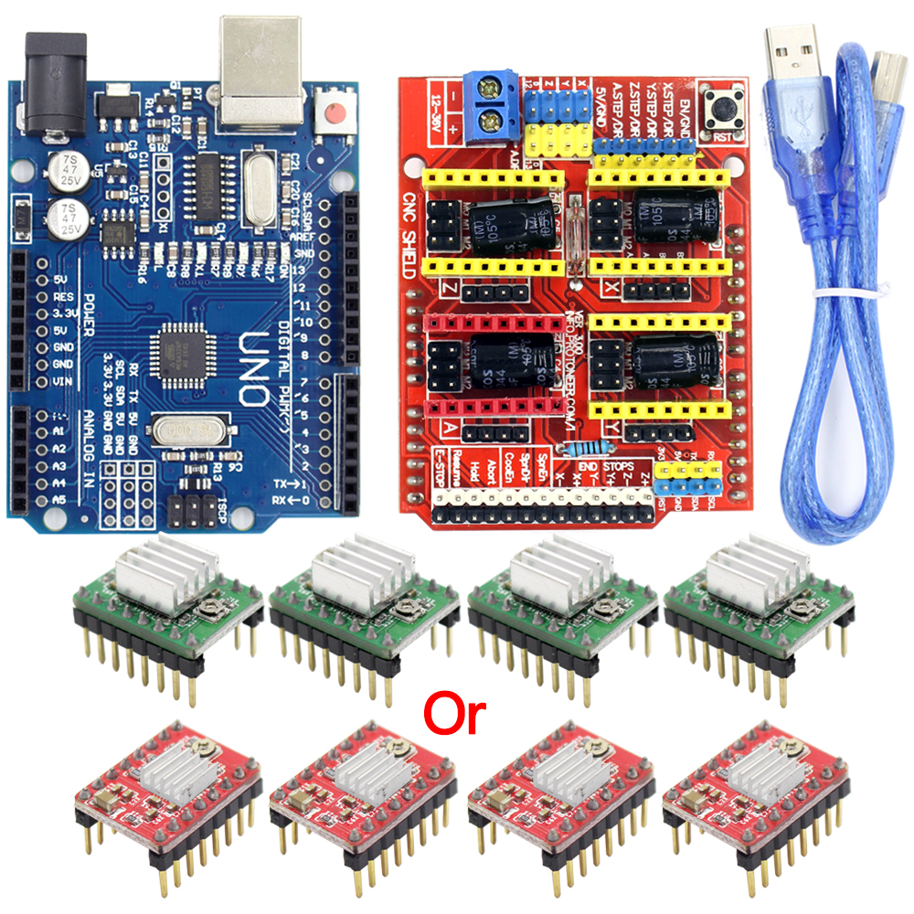 CNC Shield Expansion Board V3.0+UNO R3 Board with usb for Arduino+4pcs Stepper Motor Driver A4988 Kits for Arduino