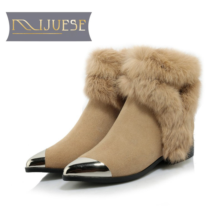 MLJUESE 2019 women ankle boots cow suede zippers rabbit hair pointed toe winter warm short plush fur  female boots snow boots MLJUESE 2019 women ankle boots cow suede zippers rabbit hair pointed toe winter warm short plush fur  female boots snow boots