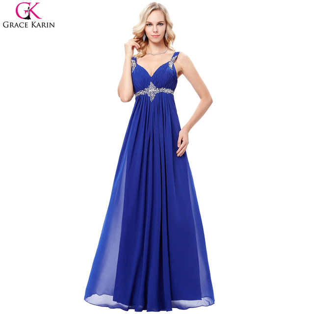 Grace Karin Royal Blue Bridesmaid Dress Long Chiffon Elegant Formal Gowns  Sequin Beaded V Neck Purple Wedding Party Dresses Robe 8f2f284f557f