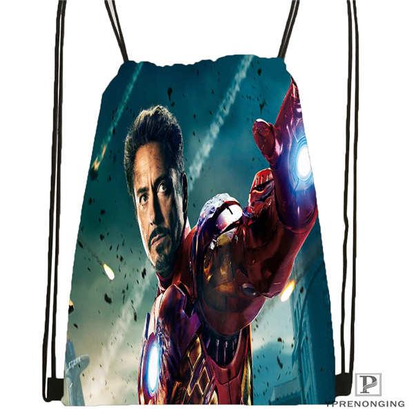 Custom Iron Man  Drawstring Backpack Bag Cute Daypack Kids Satchel (Black Back) 31x40cm#180612-02-16