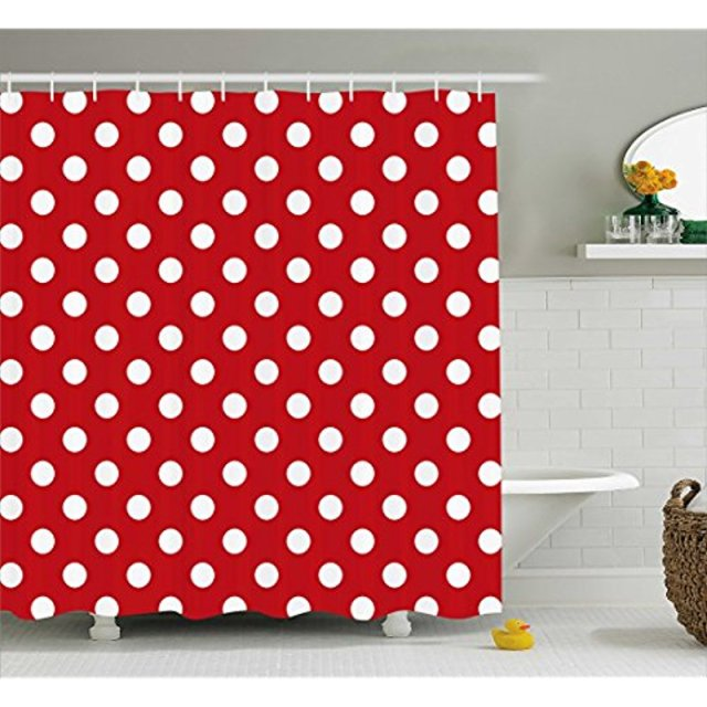 Vixm Retro Shower Curtain Vintage Polka Dots With Big White Circular Round Forms Nostalgic Girlish Kitsch Fabric Bath Curtains