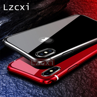 Lzcxi Armor Case For IPhone X Luxury Aluminum Metal Frame 9H Tempered Glass Anti Scratch Back