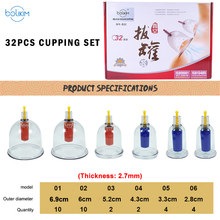 28PCS Thickened Massage Cupping Ship From RU Silicone Chinese Vacuum Massage Cupping Therapy Suction Cup Anti-Cellulite Set Kit