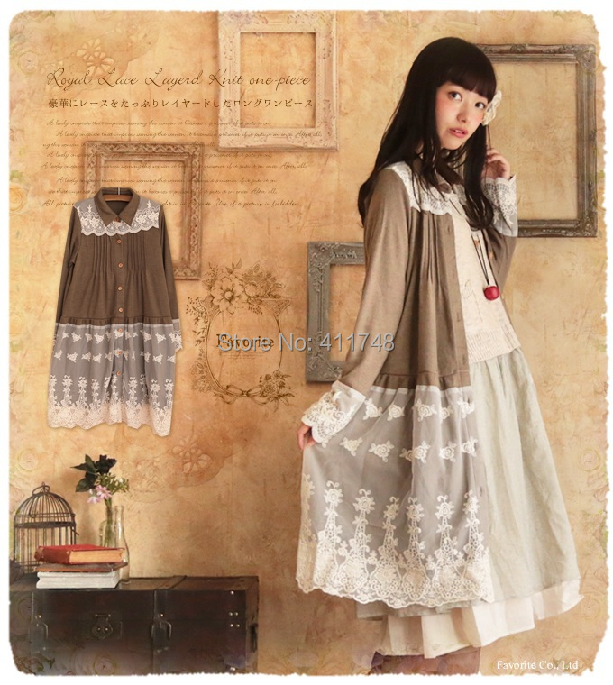 Vintage Mori Girl Cawaii Lace Knitted Dress Curto Moda