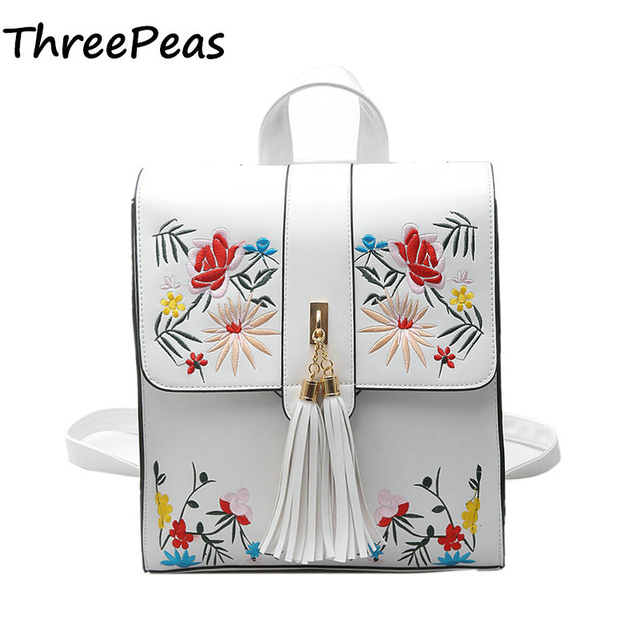 THREEPEAS Fashion Women Backpack PU Women's Shoulder Bag Floral Schoolbag Backpack for Girls HOUSHAN92