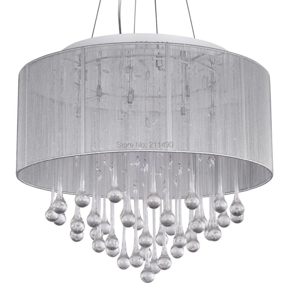 White fabric shade crystal modern drum pendant light for Modern white pendant lighting