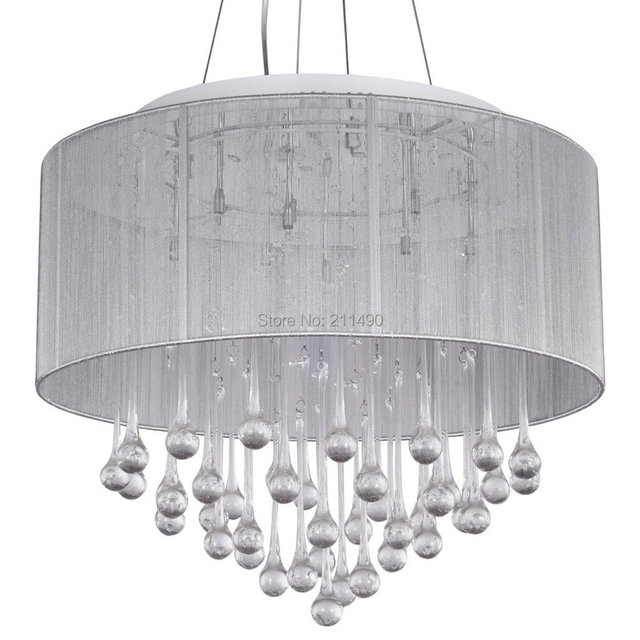 White Fabric Shade Crystal Modern Drum Pendant Light Chrome Finish With 4 Lights Max 160w