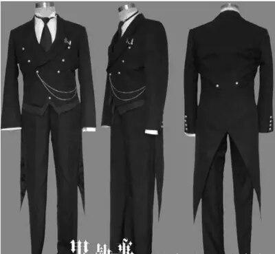 Anime Black Butler 2 Kuroshitsuji Sebastian Michaelis Cosplay Costume Unisex Uniform Swallowtail For Men and Women Full Set