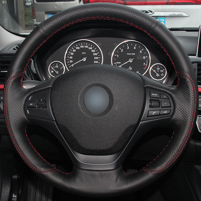 Black Natural Leather Car Steering Wheel Cover For BMW F30