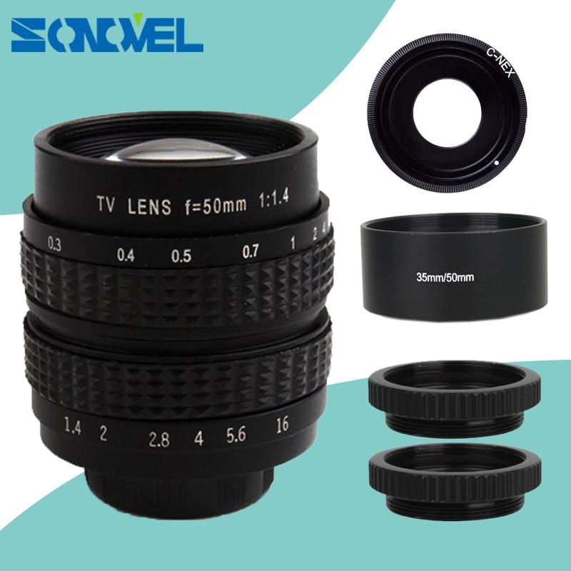 50mm CCTV F1.4 TV Film lentille + C Mont + Macro ring + lens hood pour Sony E Mont NEX-5C NEX-5N NEX-C3 NEX-5 NEX-3 A6500 A6300 A6100