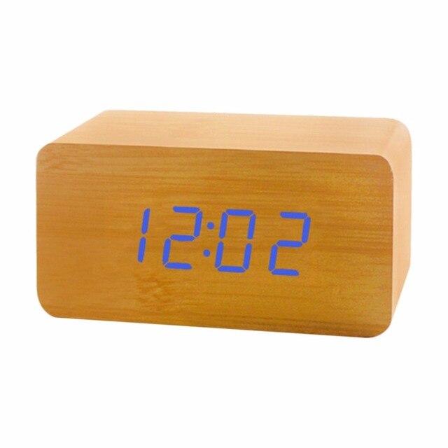 Modische LED Uhr Holz Elektronische Sprachsteuerung Uhr Rechteck Form  Dekorative Digitaler Desktop Taktgeber Für Schlafzimmer Studie
