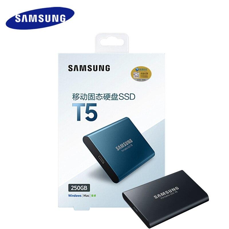 Samsung Externe SSD T5 250 gb 500g 1 t 2 t à État Solide Externe HD Disque Dur USB 3.1 gen2 (10 Gbps) et en arrière compatible Téléphone