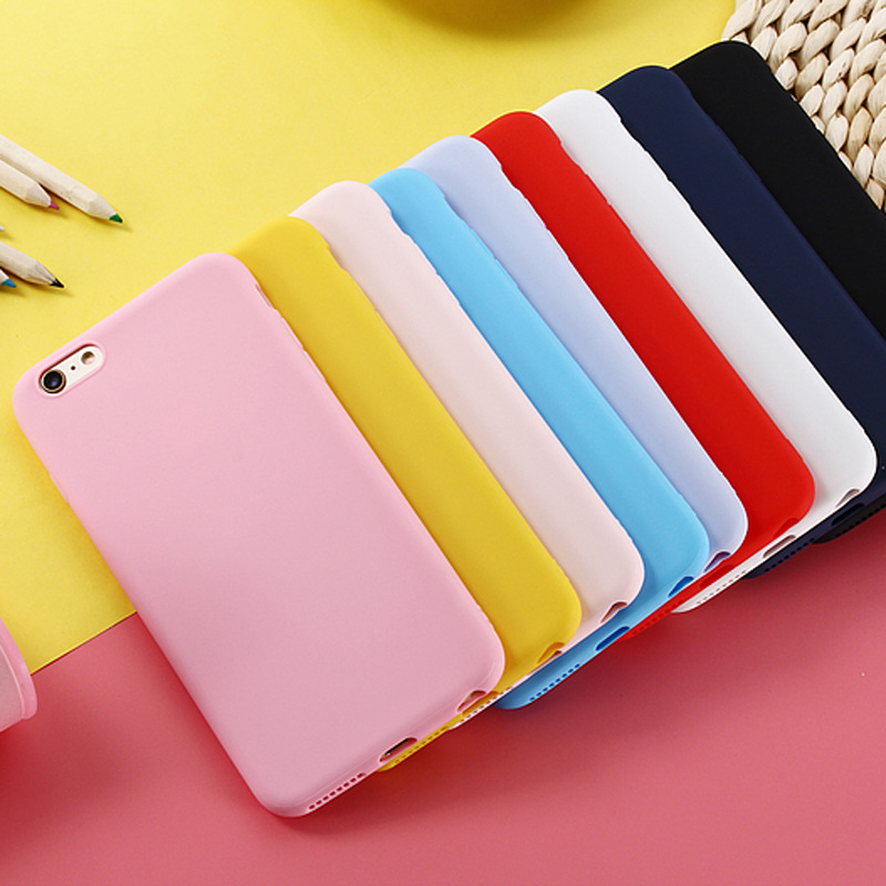 Matte Phone Case For iPhone 8 Plus 6 6s 7 X 5 5s SE XR XS MAX Simple Solid Color Ultrathin Soft TPU Cases Candy Color Back Cover