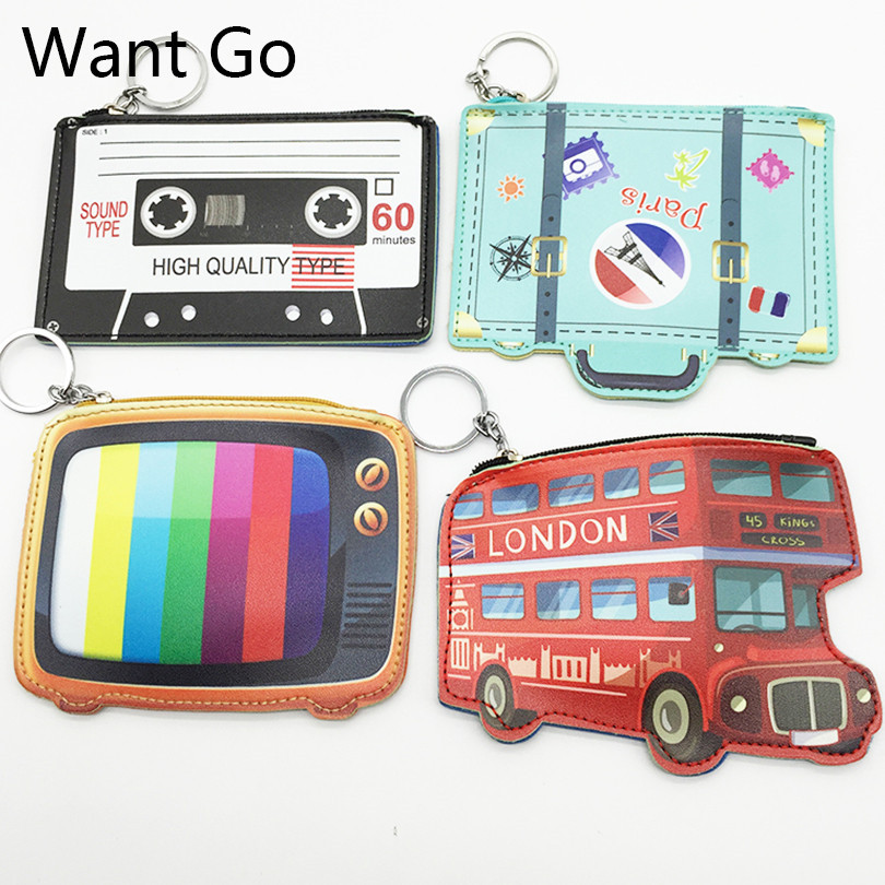 Want Go British Style Women Coin Purses 3D Kawaii Coin Holders Bag Leather Zipper Pocket Storage Bag Mini Change Wallet Purses