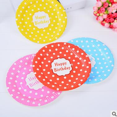 24Pcs/Lot Disposable Paper Plates Birthday Wedding Halloween Party Tableware Candy Color Paper Plates With Polka Dot Pattern Dec