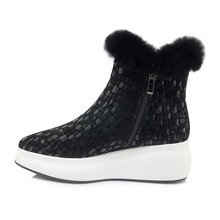 MLJUESE 2019 women snow boots Sheepskin Rome style zippers pointed toe winter warm short plush platform boots women ankle boots
