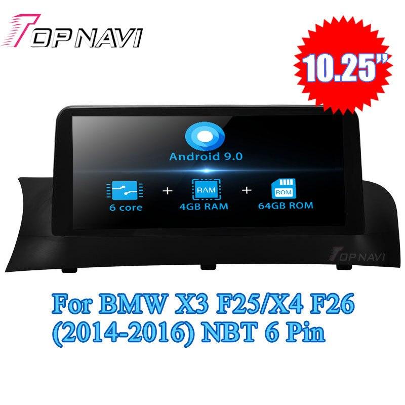 Topnavi Android 9.0 Car Radio Navegação GPS Para BMW X3 F25/X4 F26 (2011 2012 2013 2014 2015 2016) o Segundo jogador Audio Din NÃO DVD