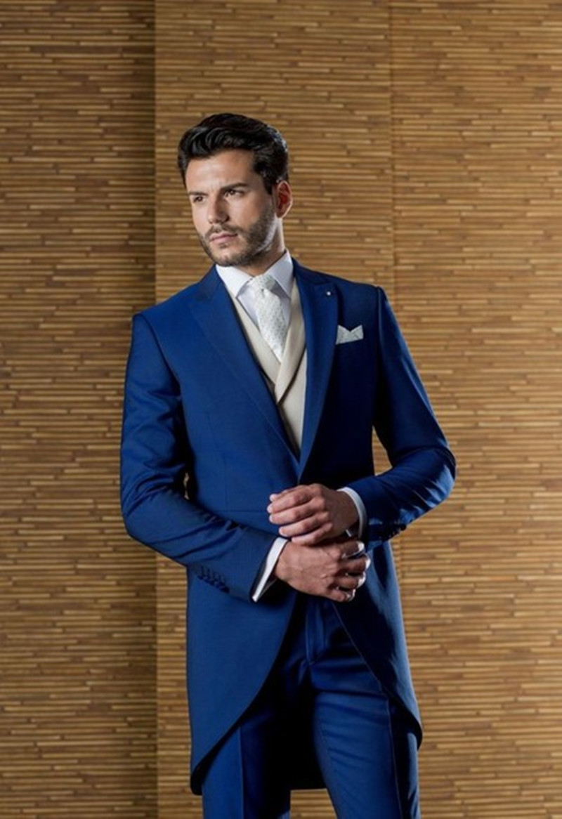 12418441a73 Latest Coat Pant Designs Italian Navy Blue Grey Morning Men Suit Slim Fit 3  Piece Tuxedo ...