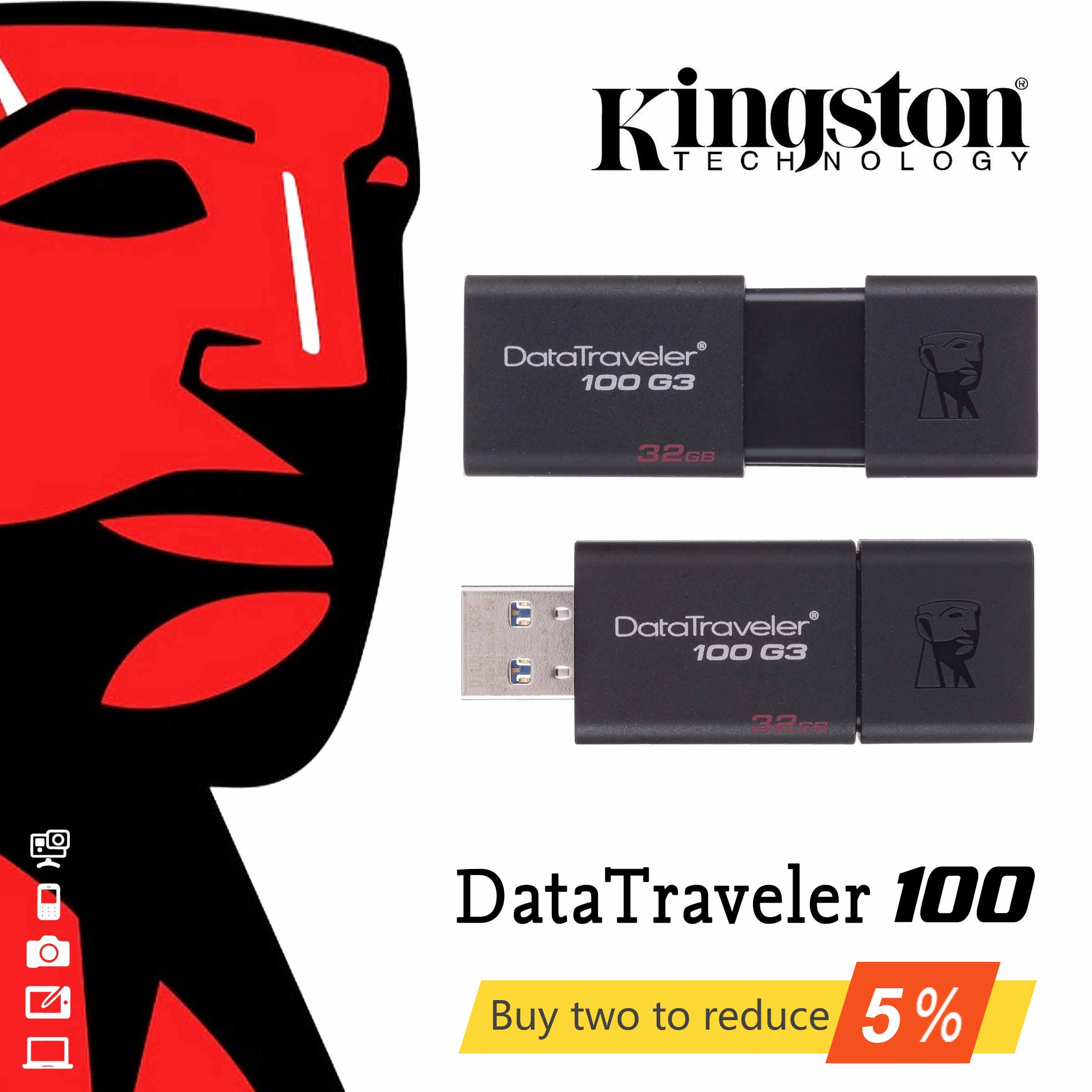 Original <font><b>Kingston</b></font> <font><b>USB</b></font> 3.0 Pen Drive 16 GB 32 GB 64 GB 128 GB <font><b>USB</b></font> Flash Geistige Stick Stick Ring Speicher flash Memoria <font><b>USB</b></font> DT100G3 image