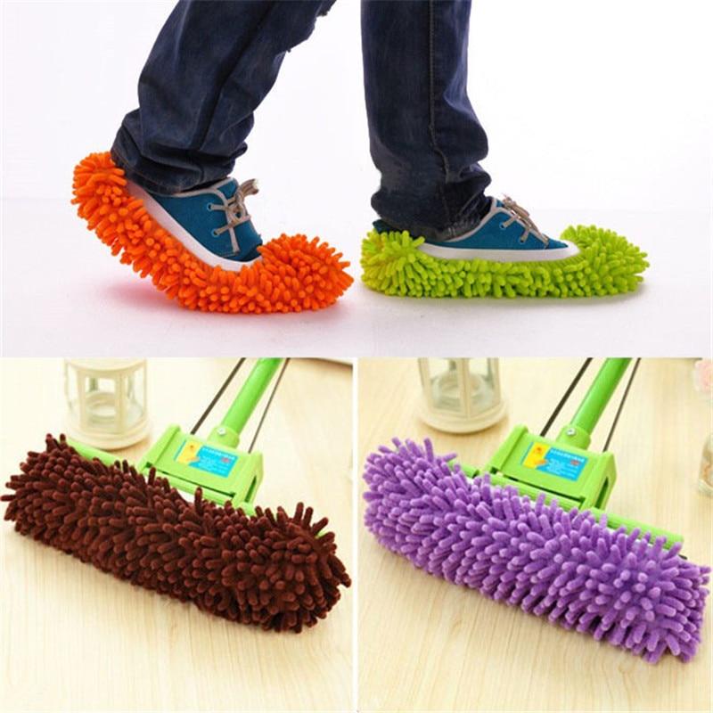 WHISM Pāris Mop čības mikrokristāla Lazy House grīdas putekļu mazgājams tīrīšanas Mop kurpju vāks mājas tīrīšanas līdzekļiem