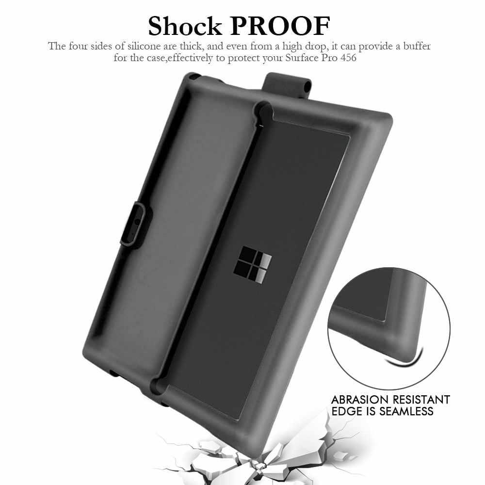 Funda de silicona para tableta Microsoft Surface Pro 3 4 5 6 carcasa plana antideslizante + funda con soporte con ranura para bolígrafo