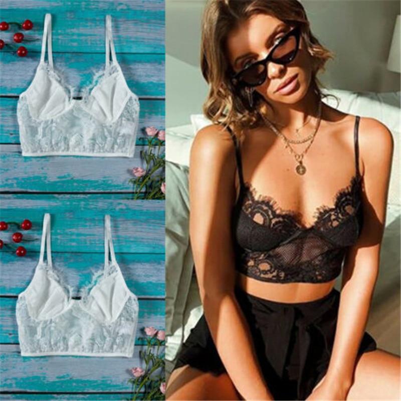 UK Womens Lace Bralette Bralet Bra Bustier Ladies Crop Tops Cami Tank Tops Vest