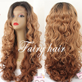 Ombre Brown Loose Curly Synthetic Hair Lace Front Wigs Dark Root and Brown Ombre Lace Front Wig with Baby Hair For Black Women