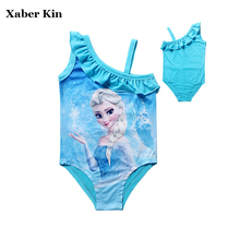 New 2018 Children Girls Cartoon Elsa One Piece Swimsuit Kids Girls Cute Blue Swimwear Summer Bathing Suits SW073