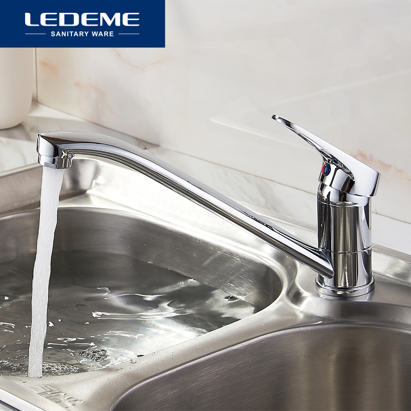 LEDEME Classic Style Kitchen Faucet Solid Brass Single Handle Cold And Hot Water Tap 360 Degree Rotation L4913