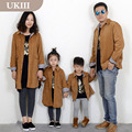 2016 Family fitted family Matching Light tan Corduroy coat jacket for father son and mother girls autumn winter fashion clothes
