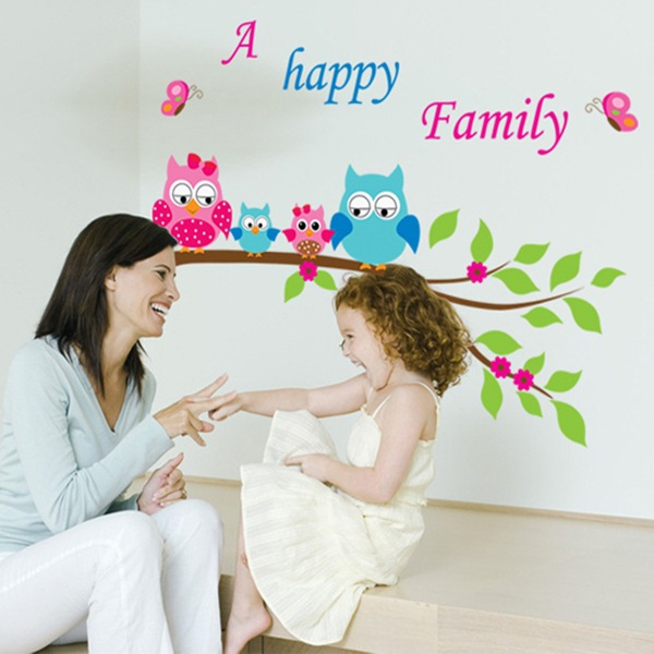 Cartoon Lovely Owl Wall Stickers Diy Bird Happy Family Quotes Kids