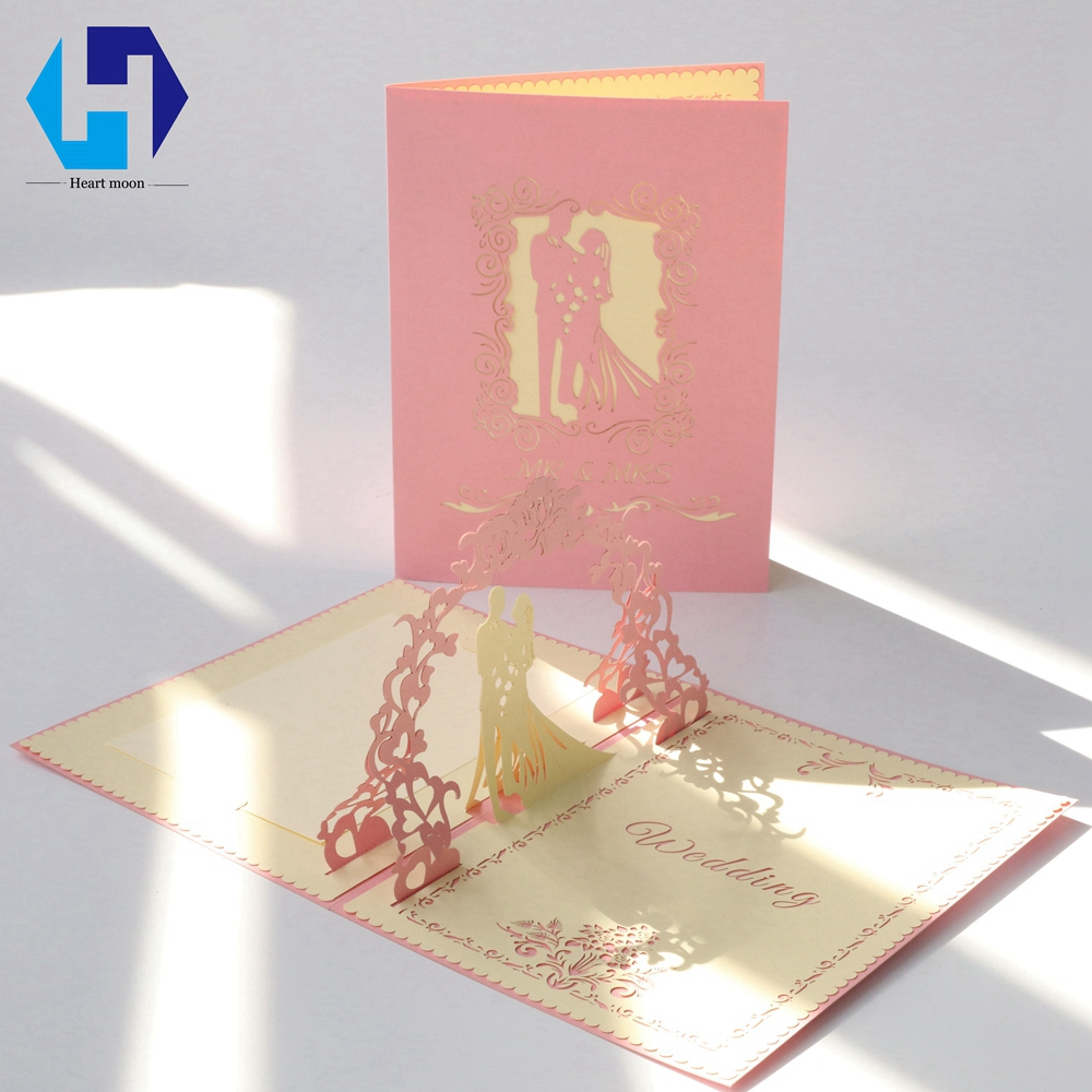 Heart Moon Laser Cut 3D Wedding Invitations Cards Cheap Blank Custom Printable Elegant Vintage Greeting 50pcs