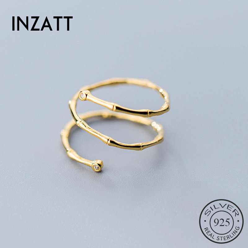 INZATT Real 925 Sterling Silver Minimalist Zircon Bamboo Knot Ring For Fashion Women Cute Fine Jewelry 2019 Accessories Gift