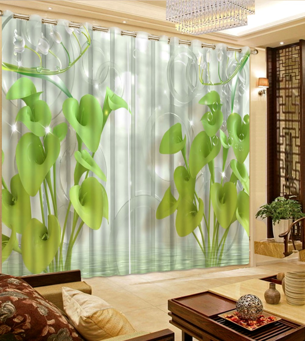 European Luxury 3D Curtains Flowers High Quality Blackout
