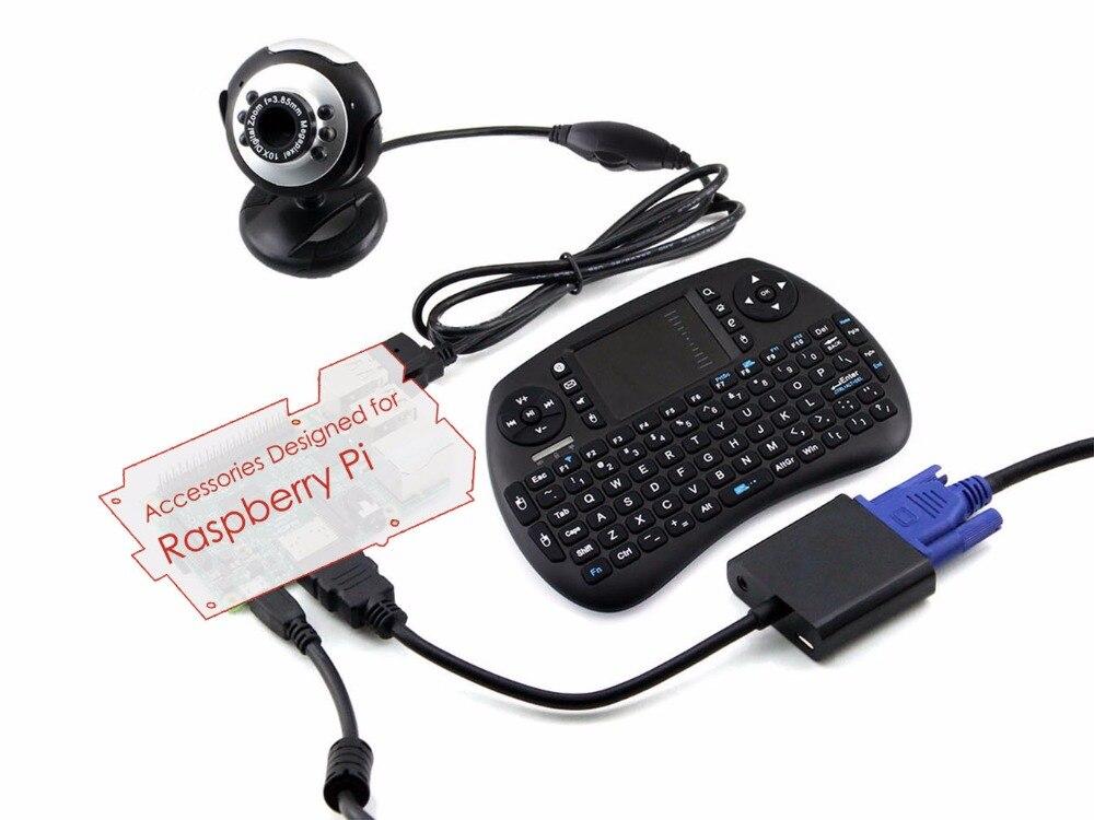Pack d'accessoires pour Raspberry Pi modèle B avec carte Micro SD + clavier sans fil + alimentation + 5 Kits pour tous Raspberry pi