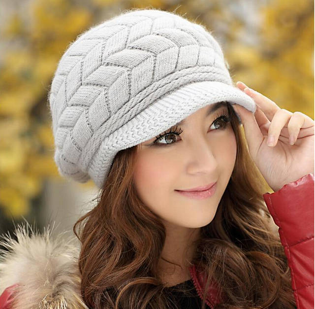 4541a079802f Elegant Women Hat Winter   Fall Beanies Knitted Hats For Woman Rabbit Fur  Cap Autumn And