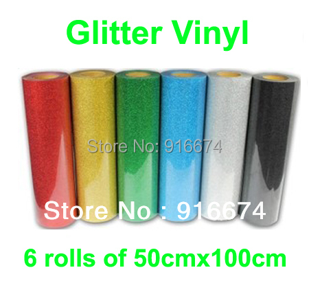 Fast Free shipping DISCOUNT 6 pieces of 50cmx100cm Glitter vinyl for heat transfer heat press cutting plotter